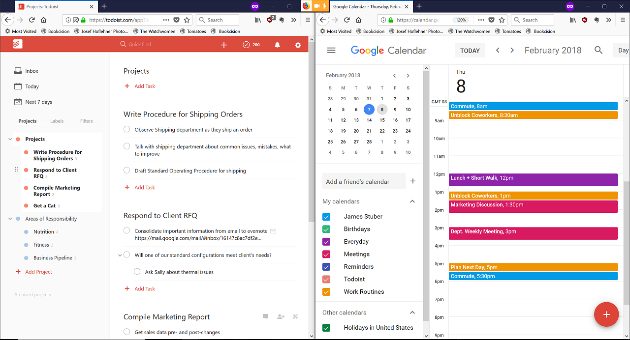 Daily Time Management with Todoist and Google Calendar | JamesStuber com